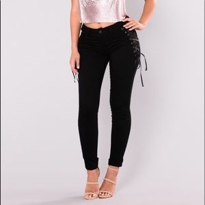 Fashion Nova Tessa Lace Up Jeans -Black